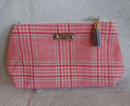 Vintage Wool Makeup Bags- Pink Plaid