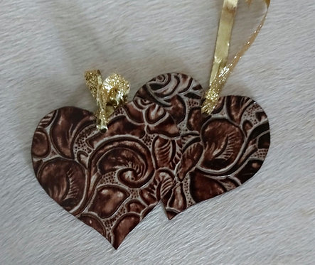 Double Sided Stamped Roses Heart