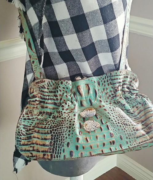 Turquoise Stamped Croco -Arohoe Bag