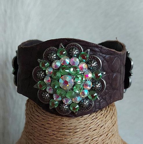 Leather Bracelet- Peridot and AB