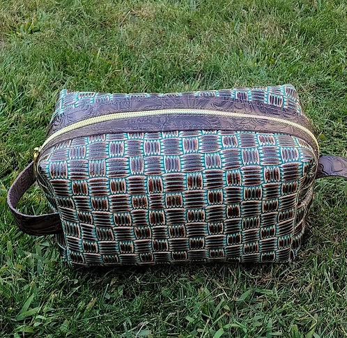 Large Makeup Bag- Basket Weave Turquoise