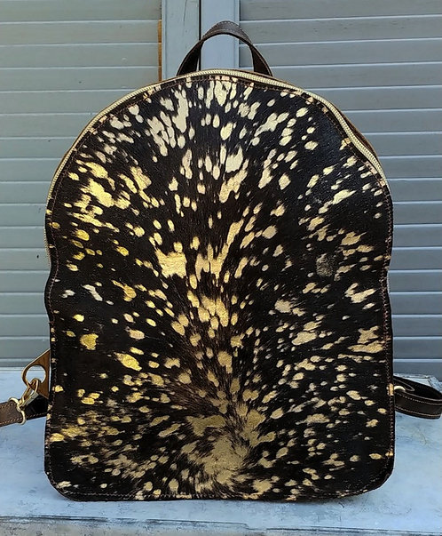 Backpack-Brown Cowhide with Gold Acid Wash