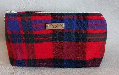 Vintage Wool Makeup Bags- Red Plaid