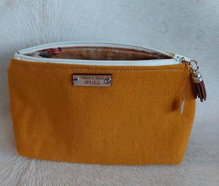 Vintage Wool Makeup Bags-Mustard