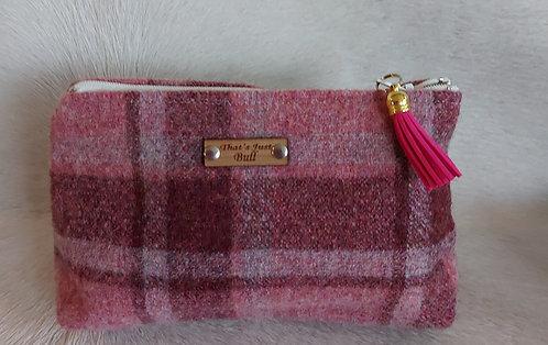 Vintage Wool Makeup Bags- Pink and Raspberry Plaid
