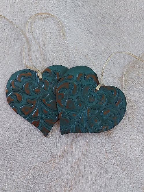 Double Sided Turquoise  Heart