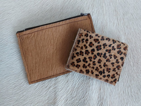 Coin and Card Holder -Leopard and Longhorn