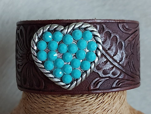 Cowhide and Leather Bracelets-Turquoise Heart
