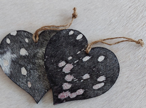Double Sided Cowhide Heart -Black and Silver Acid