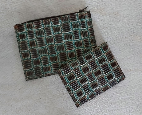 Coin and Card Holder- Turquoise Basket Weave