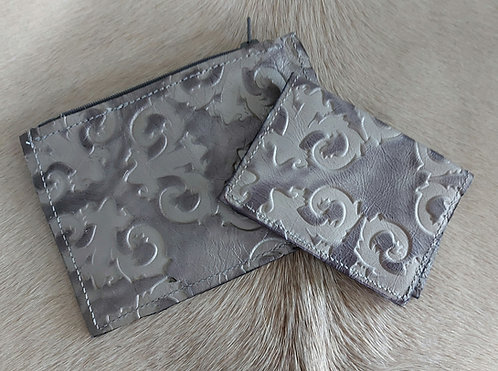 Coin and Card Holder -Grey Stamped