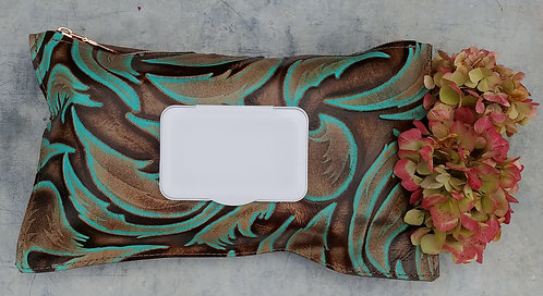 Cowhide Wipe Cases - Turquoise Leaf