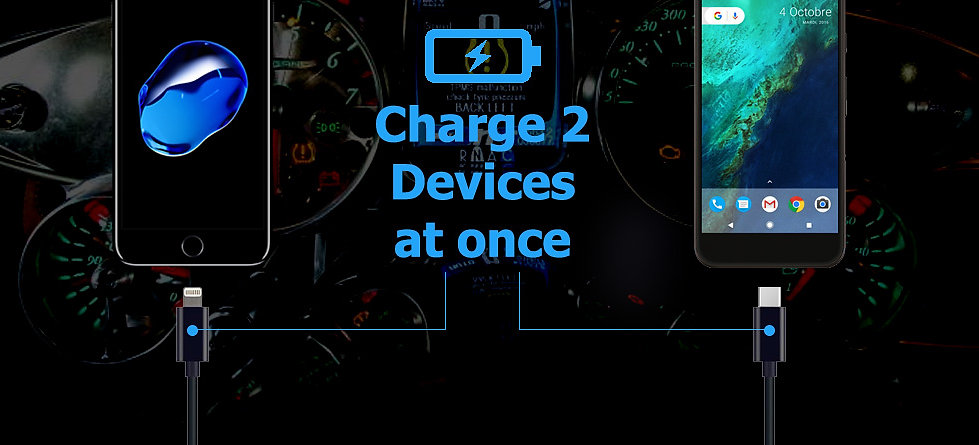 Dual USB Car Charger 2 x Devices