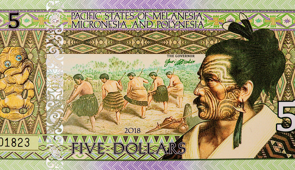 Portrait from Pacific States of Melanesia Micronesia and Polynesia 5 Dolla 2018 Banknotes.