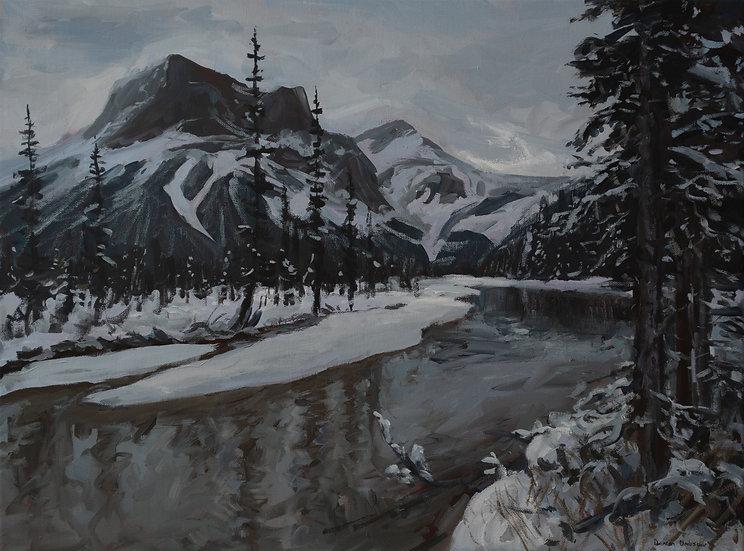 """Light Snowfall at Emerald Lake 18x24"""""""