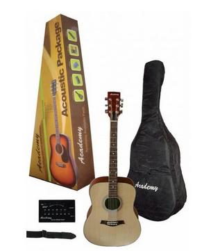 "Pack Guitarra Acústica ""ACADEMY"" Natural      y      Sombreada."
