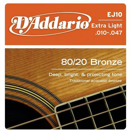 """Cuerdas para Guitarra Acústica """"D´Addario"""" EJ10"""
