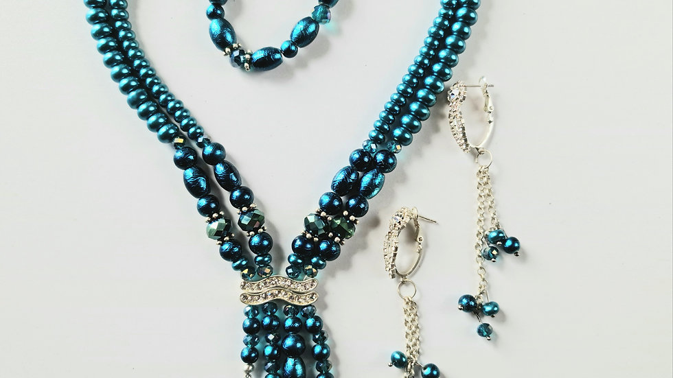 Layered Cobalt Necklace, Earrings and Bracelet