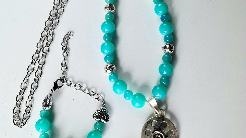 Blue Heart Necklace and Bracelet Set