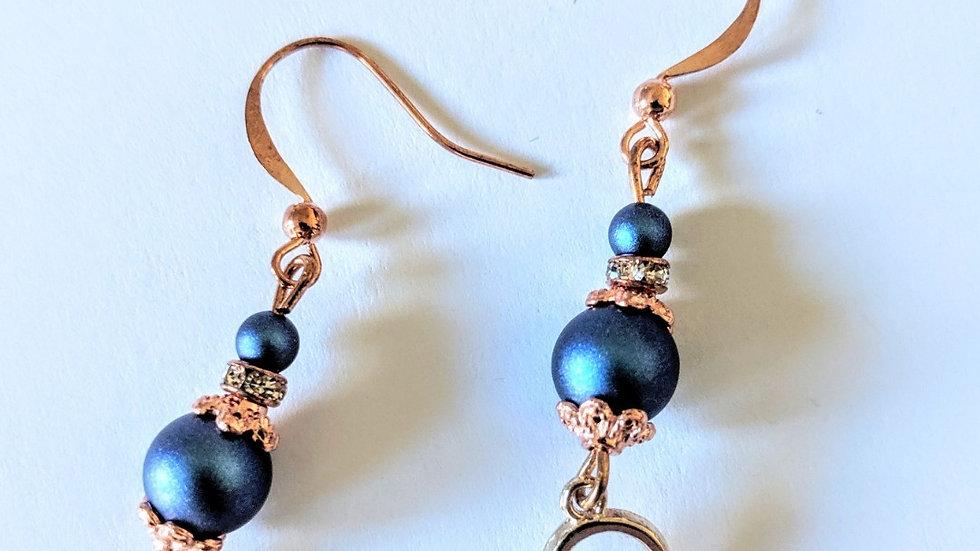 Rose Gold Heart Double Crystal Earrings