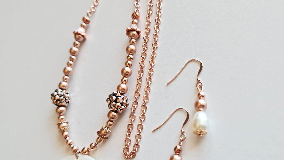 Rose Gold Shell Necklace and Earrings