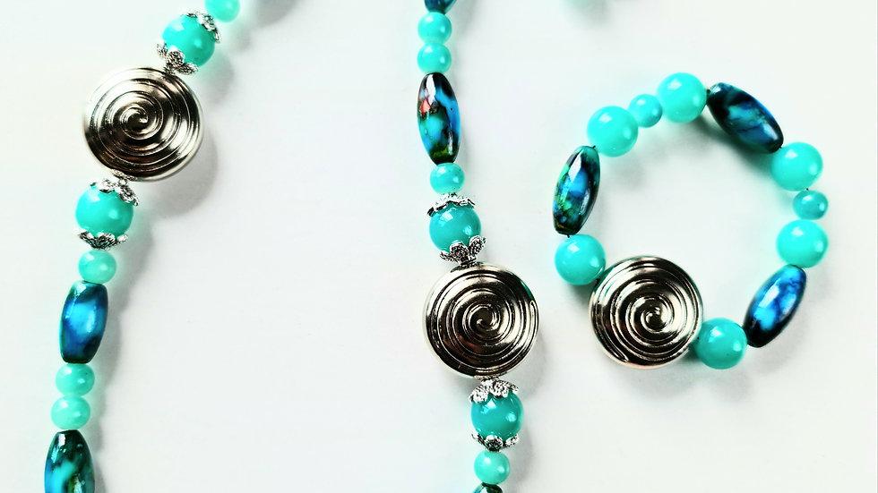 Baby Blue Glass Necklace Set