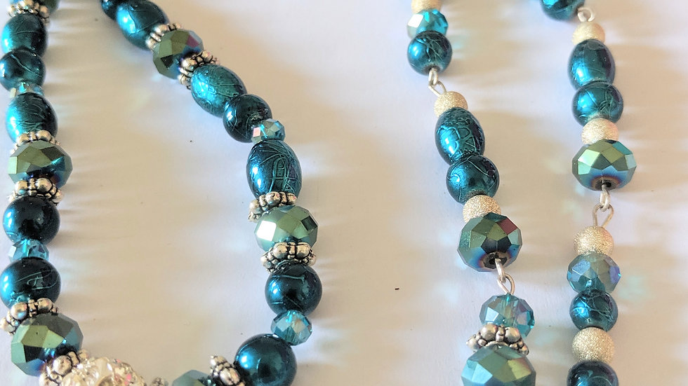 Teal Lariat Necklace and Earrings