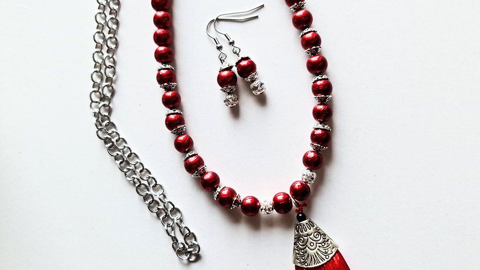 Red Tassel Necklace and Earrings