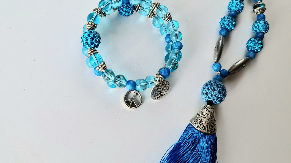 Bright Blue Bohemian Tassel Necklace and Wrap Bangle