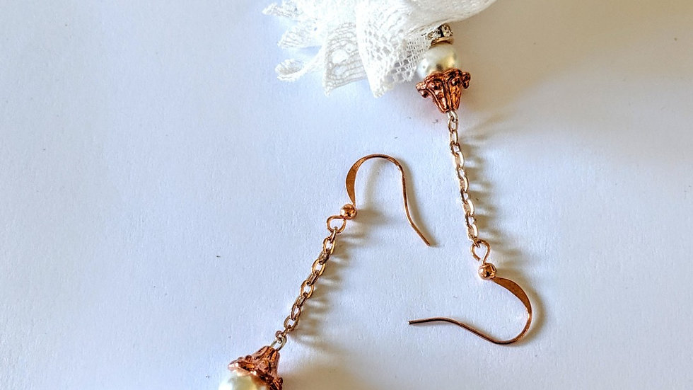 Cream Lace Earrings in Rose Gold