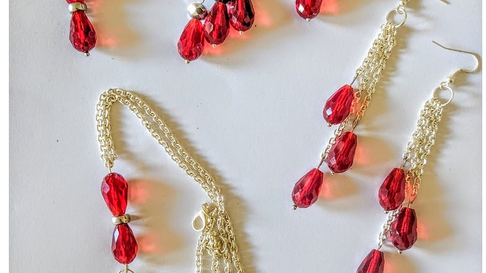 Ruby Red Necklace and 3pr Earrings