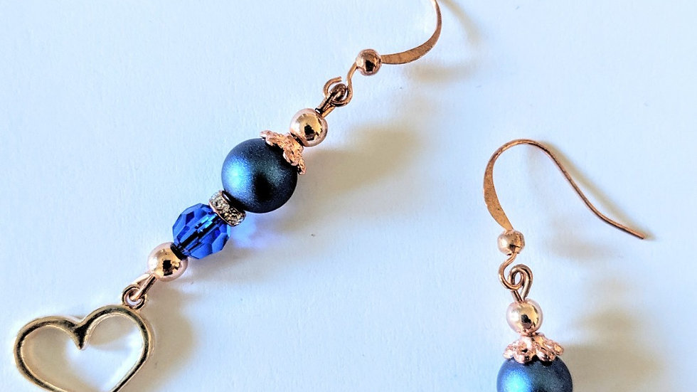 Rose Gold Heart Earrings