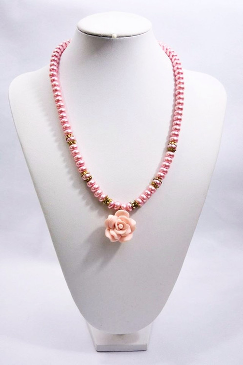 Prettiest pink pearl floral necklace handmade queensland prettiest pink pearl floral necklace aloadofball Image collections