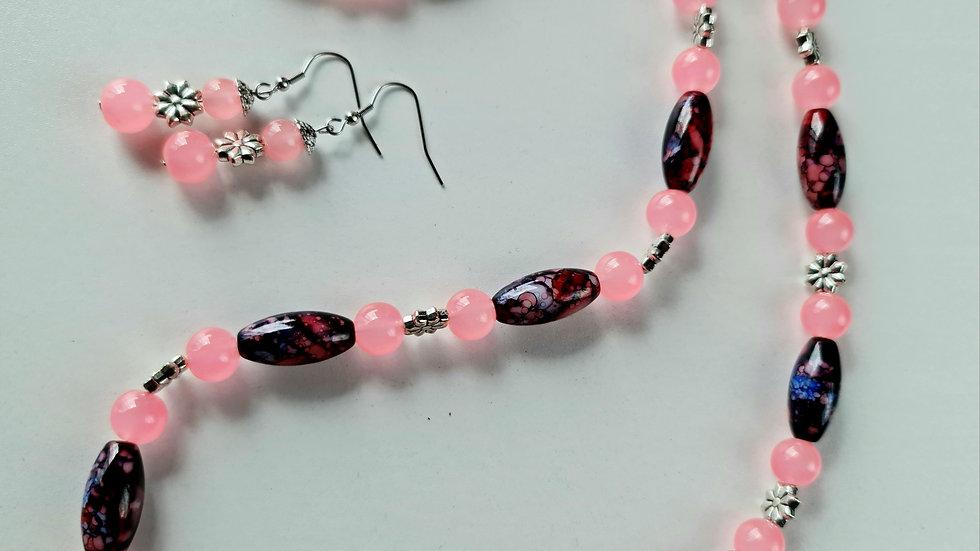 Vibrant Pink and Mottled Necklace Set