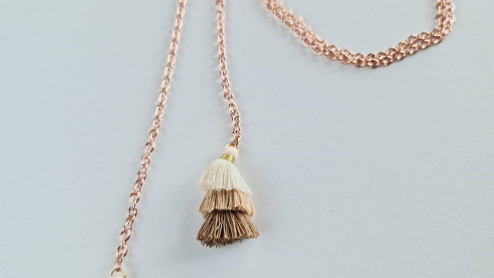 Rosy Gold Tassel Lariat Necklace
