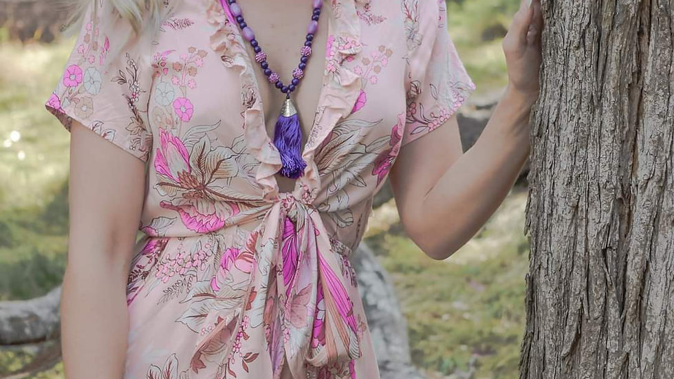 Bohemian Necklace and Wrap Bangle in Vivid Violet