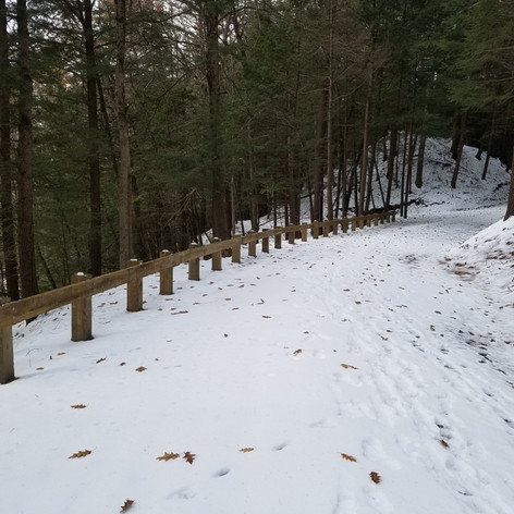 Guardrails were added along some of the steep drop-offs.