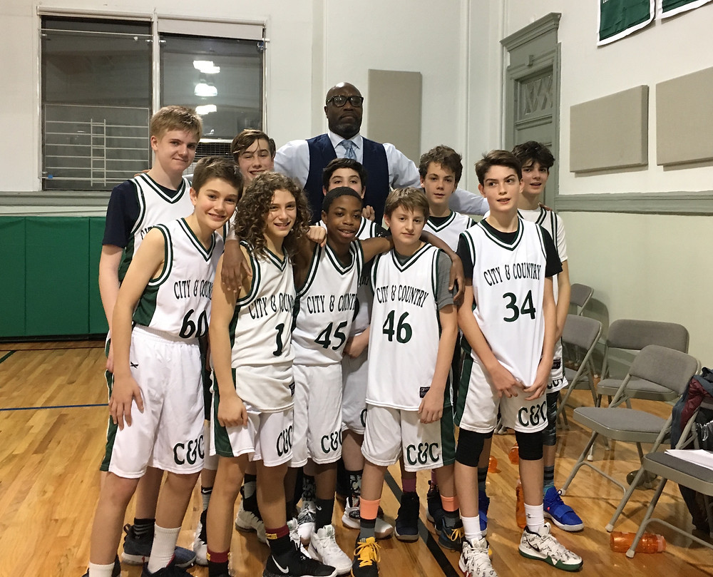The 12s-13s basketball team after a win