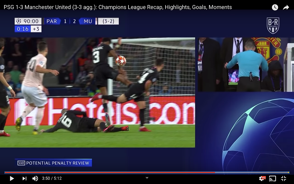 Presnel Kimpembe's handball that gave Manchester United the penalty that made Manchester United go through to the Quarter-Finals