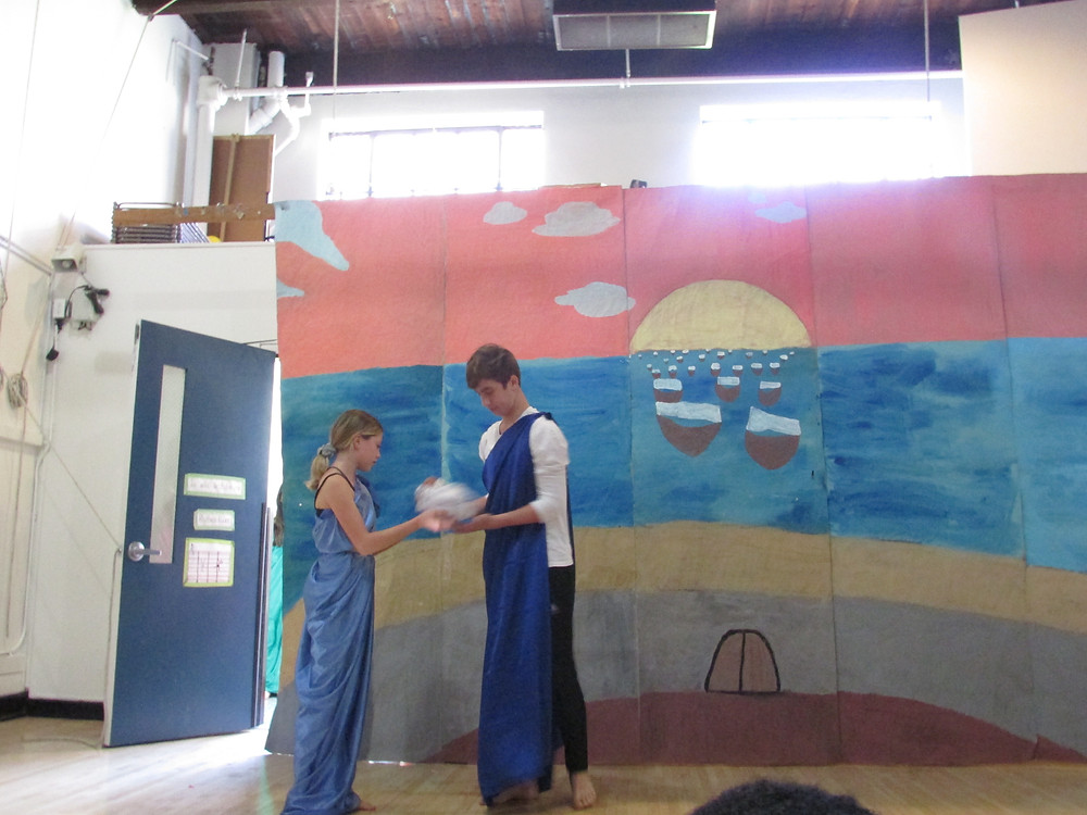 Jack Kolz and Rose Harkider, XIIsS, perform their play