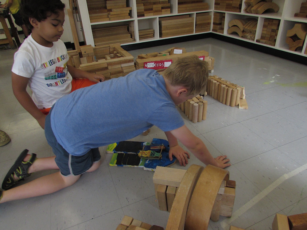 Milo Salmon and Martin Gilmore, VIIsC, playing with blocks