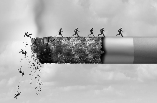 People running away from the edge of a cigarette