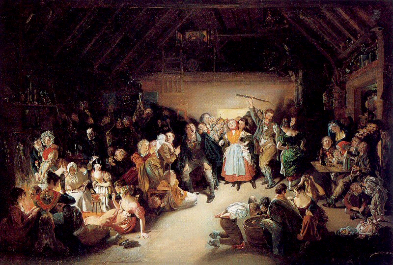 The painting above depicts a Halloween celebration. 1833, Daniel Maclise, Ireland.