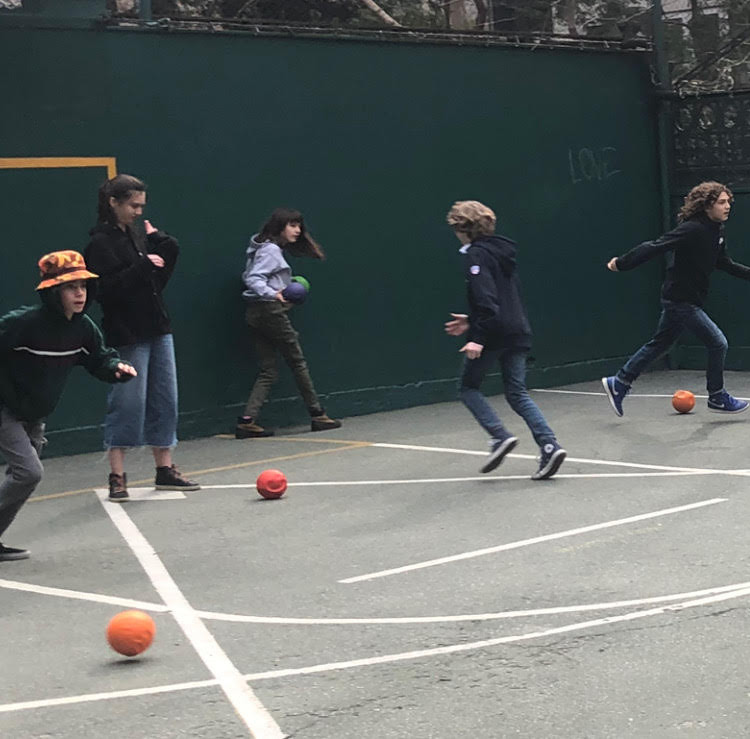 The XIIsP playing dodgeball in the Ball Yard