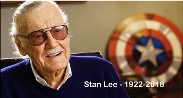 A picture of Stan Lee alongside a record of the years he was alive for