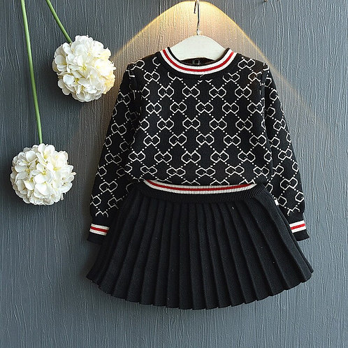 Fashion Girls Clothes Set - Shirt Sweater and Skirt