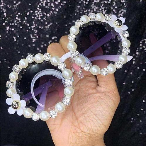 Vintage Pearl Rhinestone Round Sunglasses