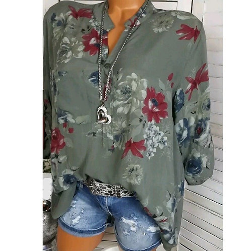 Long Sleeve Print with Standup Collar Blouse