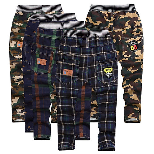 Kid's Striped Plaid Camouflage Pants