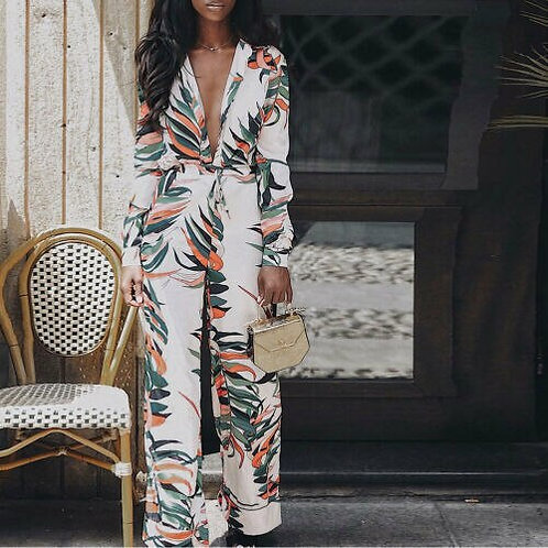 Floral Printed Evening Jumpsuit